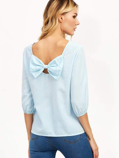 Blue Vertical Striped Bow Embellished Back Top