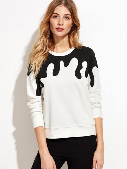 White Contrast Ink Drop Print Sweatshirt