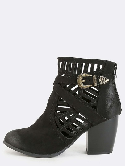 Cut Out Chunky Heel Booties BLACK