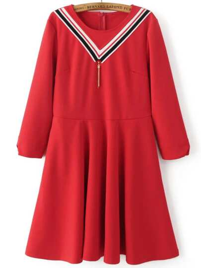Red Chevron Pattern A Line Dress With Tassel