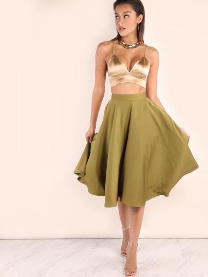 Olive Green Band Waist Circle Skirt
