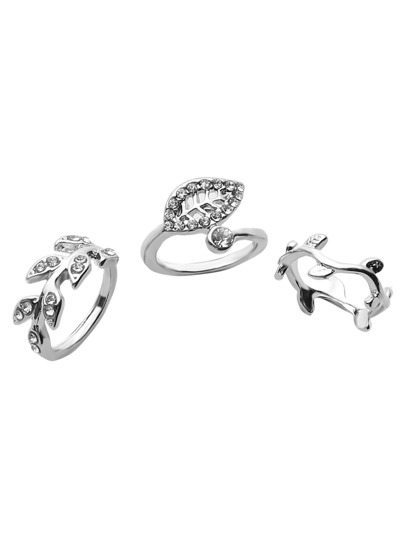 3PCS Silver Plated Rhinestone Leaf Ring Set