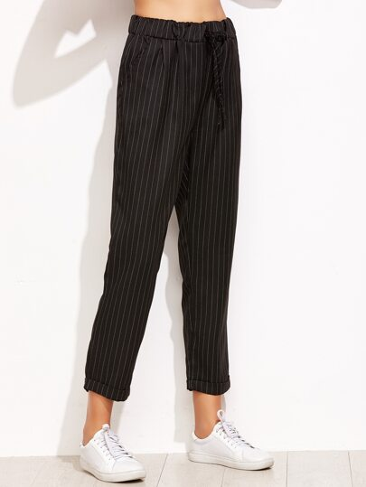 Black Vertical Striped Drawstring Cuffed Pants