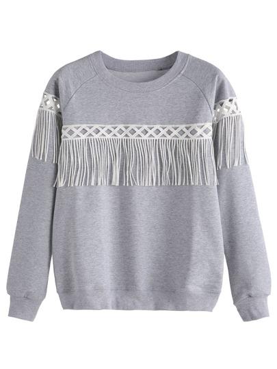 Grey Lace Insert Fringe Sweatshirt