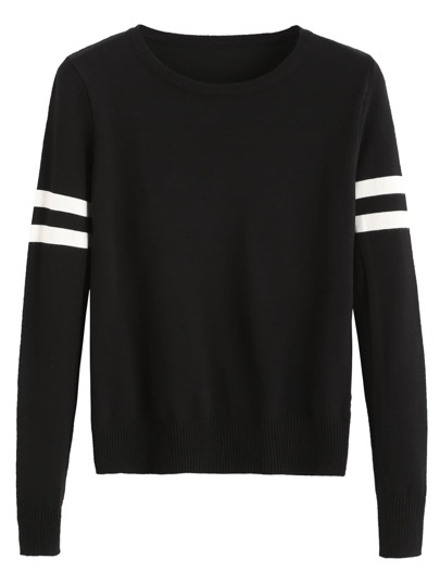 Black Striped Trim Jersey Sweater