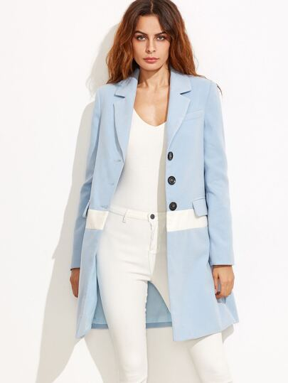 Blue Notch Collar Contrast Panel Coat