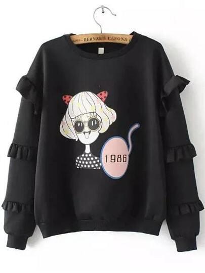 Black Cartoon Print Ruffle Sleeve Sweatshirt