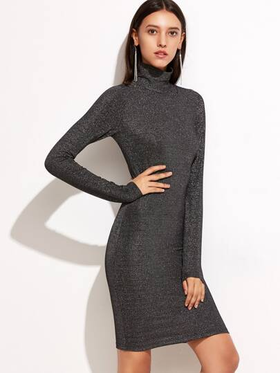 Shiny Black High Neck Long Sleeve Dress