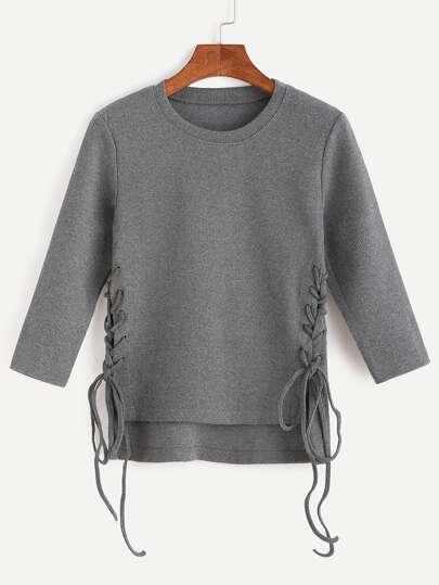 Jersey asimétrico con cordón lateral - gris oscuro