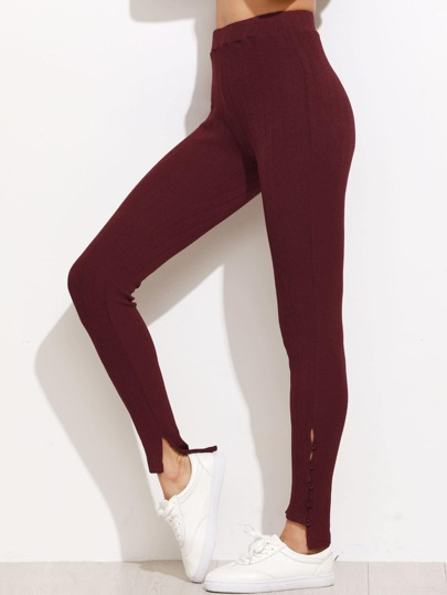 Burgundy High Waist Buttoned Hem Ribbed Leggings