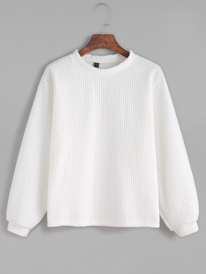 White Long Sleeve Ribbed Sweatshirt
