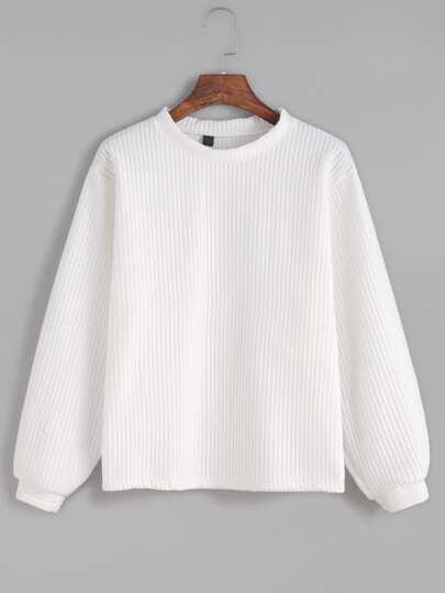 Sweat-shirt tricoté à nervures manche longue - blanc