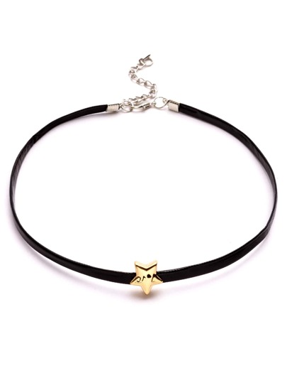 Black Faux Leather Metal Star Choker Necklace