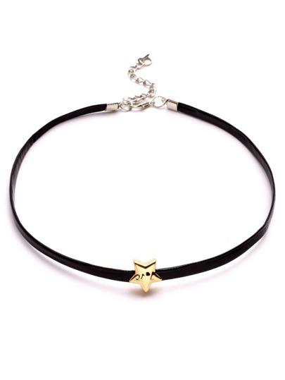 Collier ras-de-cou en similicuir avec étoile métallique - noir