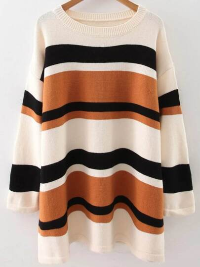 Khaki Striped Drop Shoulder Loose Sweater