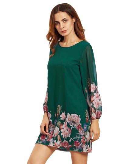 Dunkelblaues Laterne-Hülsen-Blumenverschiebung-Kleid