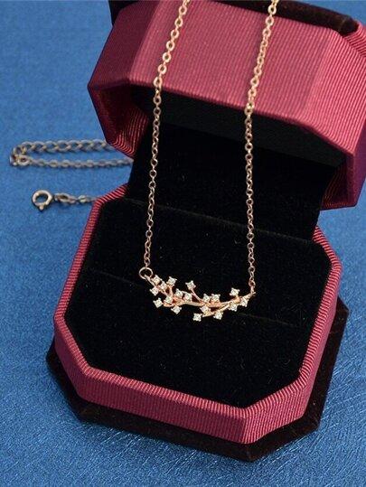 Rosegold Rhinestone Branch Pendant Necklace