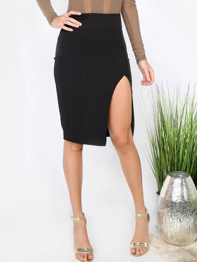Black Split Pencil Skirt