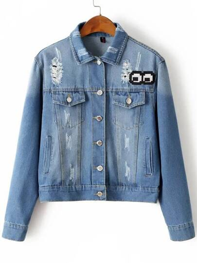 Chaqueta de denim con bordado - azul