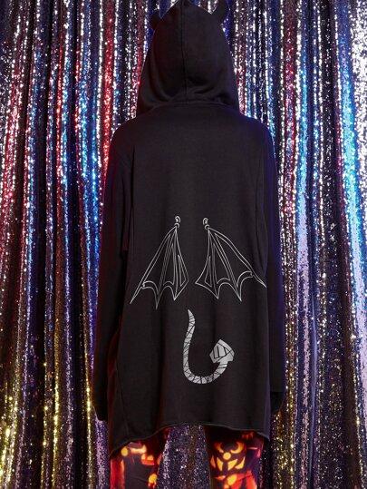 Black Little Devil Printed Back Hooded Coat