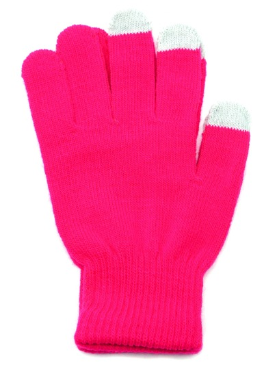 Hot Pink Knit Telefingers Gloves
