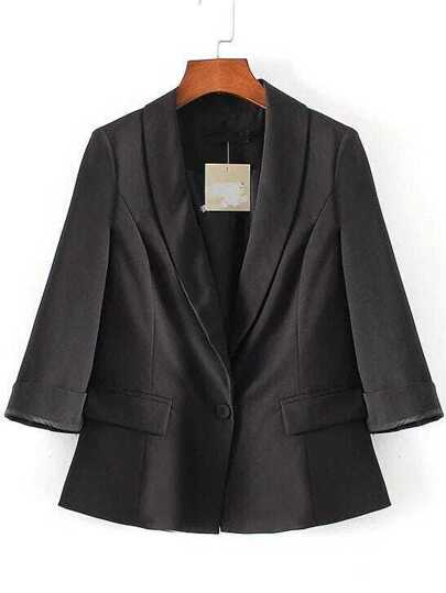 Black Single Button Shawl Collar Slit Sleeve Blazer