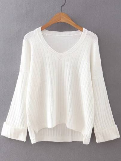 White V Neck Rolled Cuff High Low Sweater