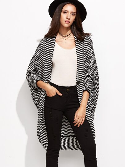 Black And White Chevron Striped Hook Fastener Cocoon Sweater