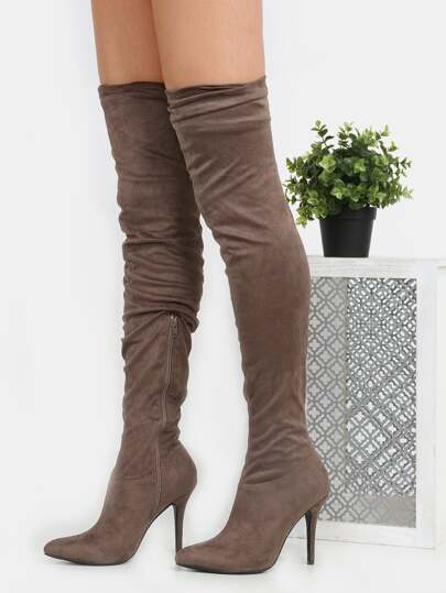 Slouchy Stiletto Thigh High Boots TAUPE
