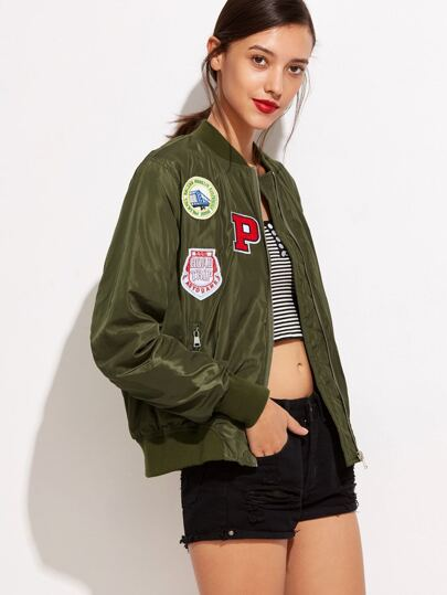 Army Green Embroidered Patches Zipper Jacket