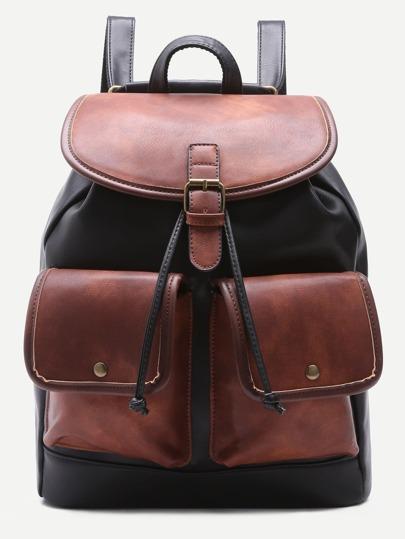 Color Block PU Double Pocket Drawstring Backpack