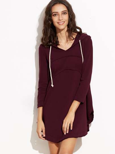 Burgundy Curved Hem Hooded Swing Sweatshirt