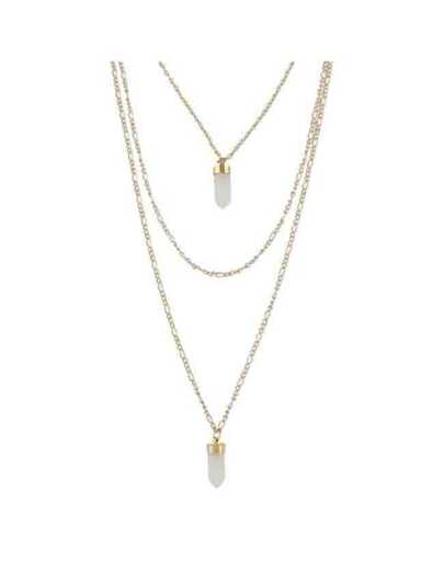 White Three Layers Long Chain Necklace