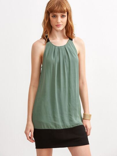 Green Contrast Halter Neck Sleeveless Dress