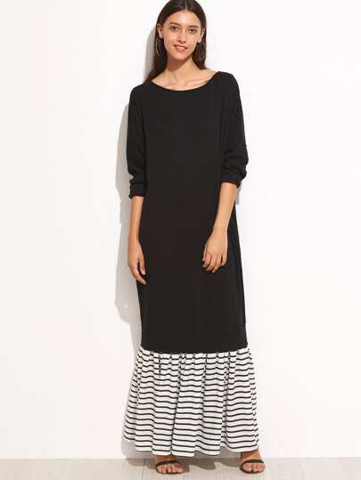 Black Contrast Striped Trim Sweatshirt Dress