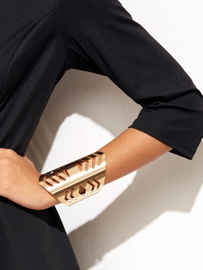 Gold Plated Geometric Hollow Out Cuff Bracelet