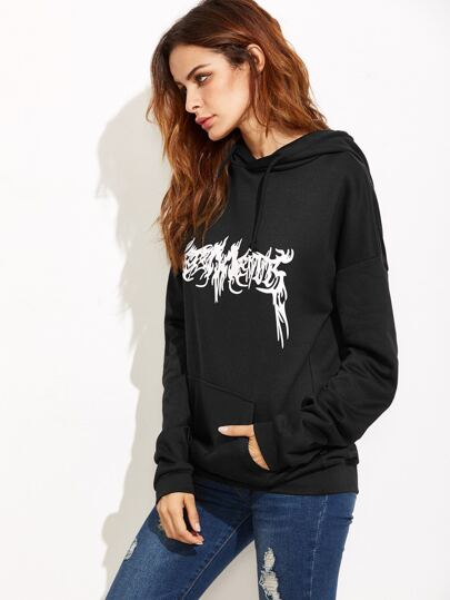 Black Abstract Print Hoodie With Pocket