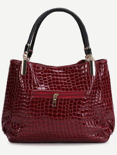 Red Crocodile Embossed PU Tote Bag