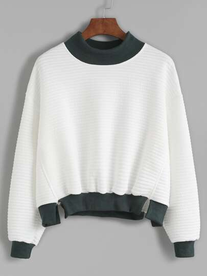 Contrast Trim Mock Neck Slit Striped Texture Sweatshirt