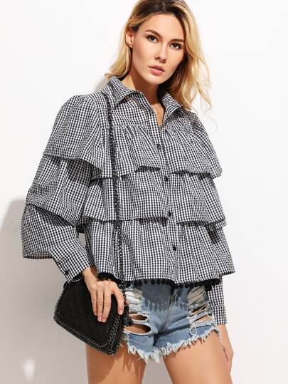 Black Gingham Layered Blouse
