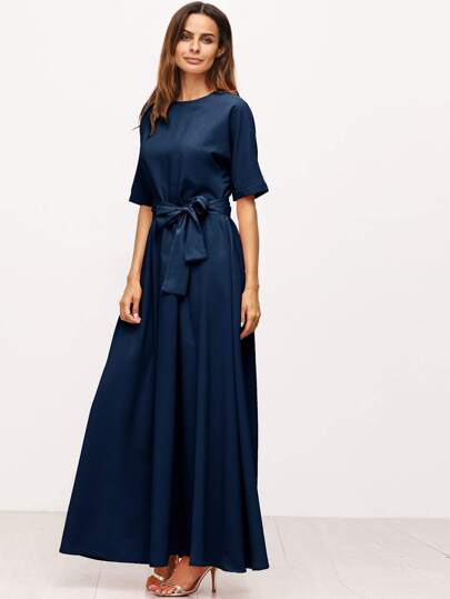 Royal Blue Tie Front Detail Maxi Dress