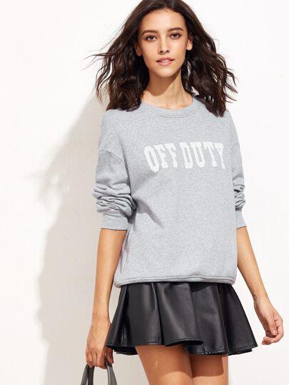 Heather Grey Letter Print Drop Shoulder Sweatshirt