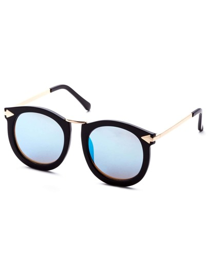 Black Frame Metal Arm Blue Lens Sunglasses