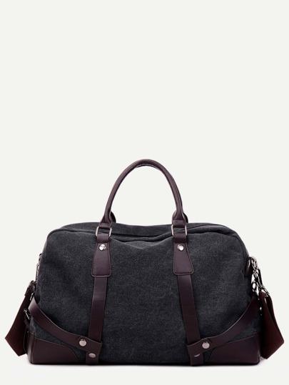 Black PU Trim Canvas Handbag With Strap