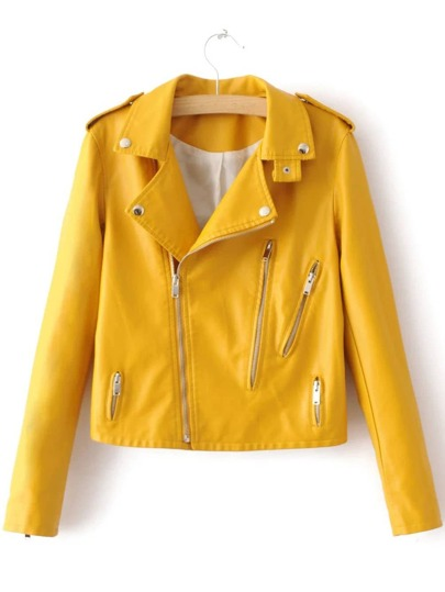 Yellow Oblique Zipper PU Moto Jacket