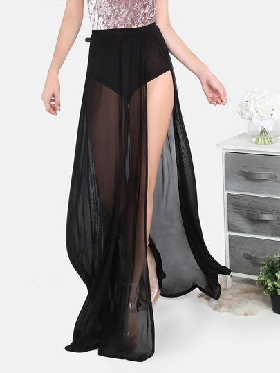 Meshed Maxi Slit Skirt BLACK