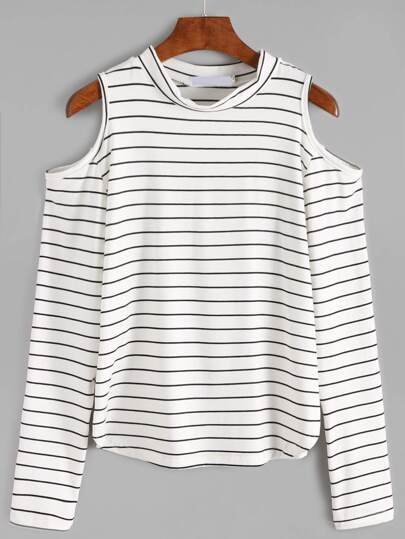White Open Shoulder Striped Long Sleeve T-shirt