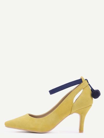 Fesselriemen Schuhe mit Bommel Spitze Zehe Nubukleder-Ingwer