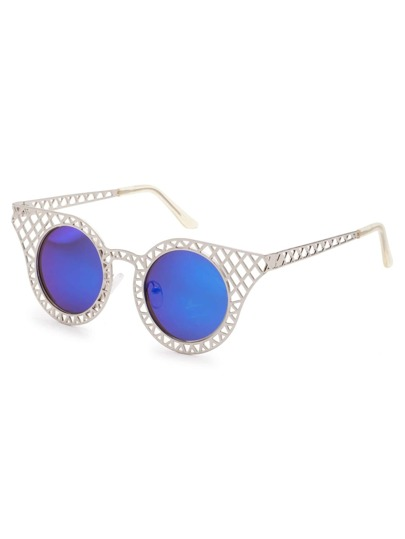 Silver Hollow Frame Iridescent Round Lens Sunglasses