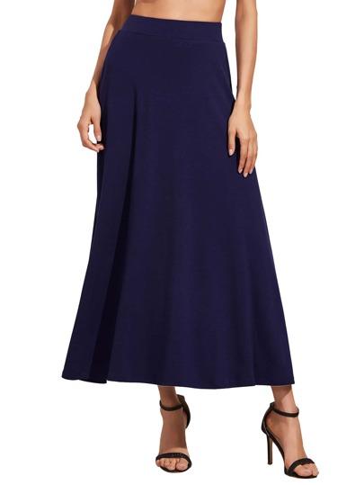 Falda larga de cintura alta azul real